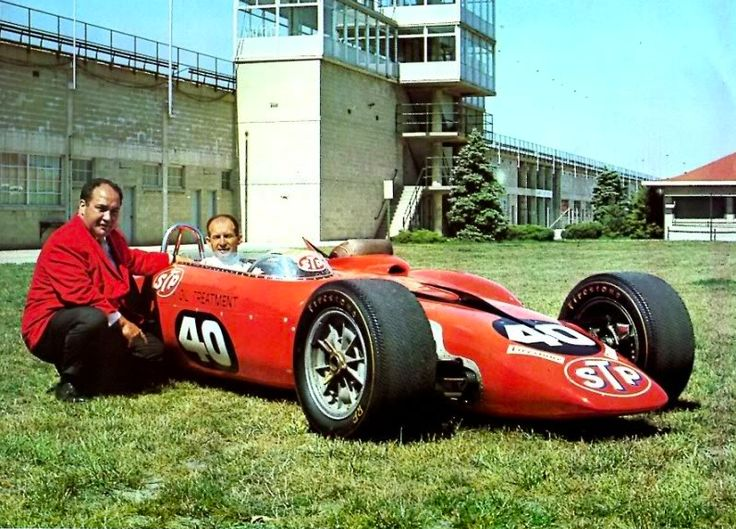Andy Granatelli with Parnelli Jones and the STP-Paxton Turbine Car which came within just a few miles of winning the 1967 Indianapolis 500.