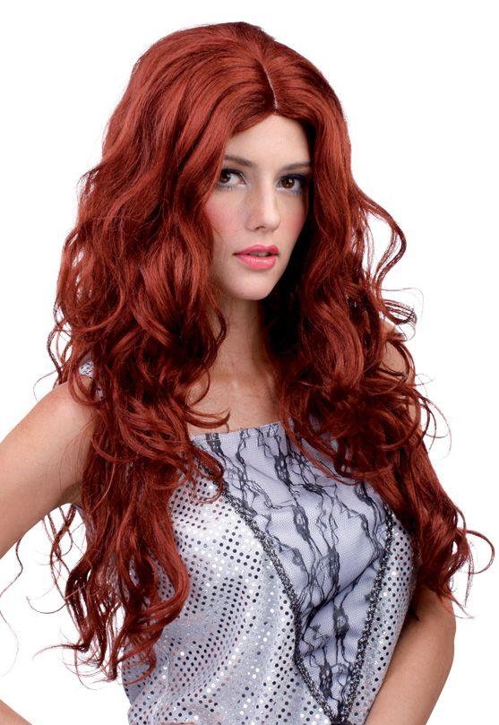 rote Langhaar-Perücke für Damen: Diese rote Langhaar-Perücke für Damen hat welliges Haar. Die perfekte Perücke für Ihre Meerjungfrauen-Kostüm und viele andere Kostüme.