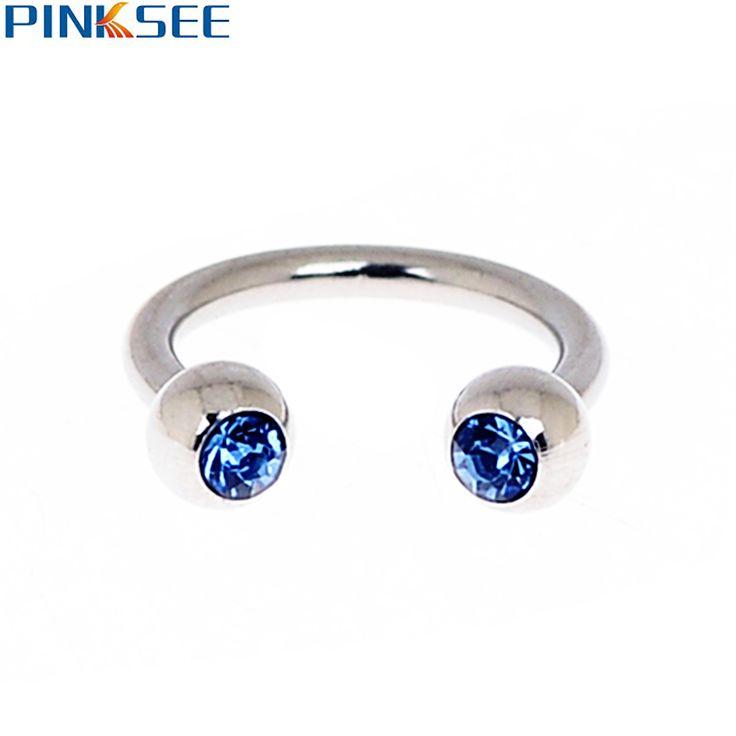 18G Stainless Steel Crystal Circular Barbells Horseshoe Nose Lip Eyebrow Septum Cartilage Nose Hoop Ring Piercing Body Jewelry