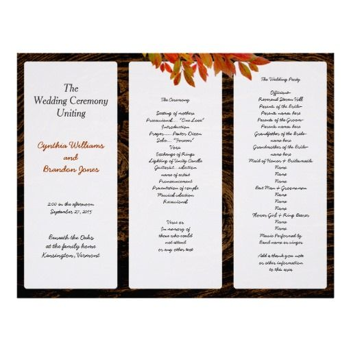 rustic dark wood fall wedding tri fold program designer wedding pinterest tri fold dark wood and wedding programs