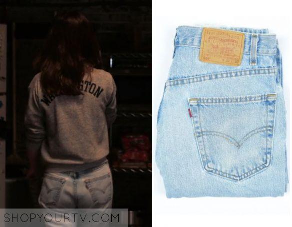 "Girlboss: Season 1 Episode 4 Sophia's Denim Jeans | Shop Your TV Sophia Amoruso (Britt Robinson) wears these light blue washed jeans in this episode of GirlBoss, ""Ladyshopper99"".  It is the Vintage 90s Levi's 550 Jeans Relaxed Fit Denim Light Wash Jeans."