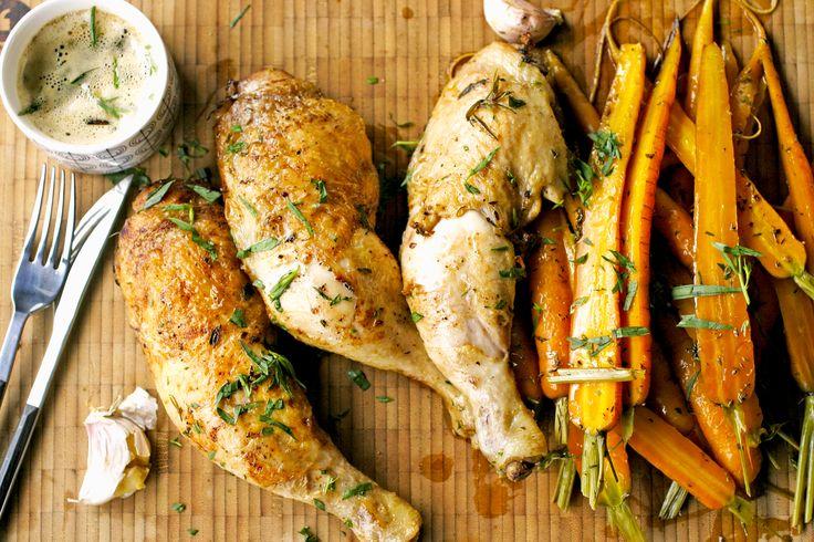 Een absolute kinderfavoriet: deze gebraden kip met geroosterde worteltjes…