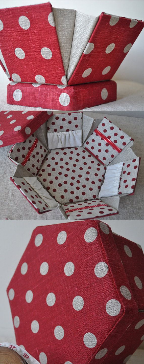 Sewing Box Handmade OOAK Luxury Fabric Etui   Red & by tialys, $68.00