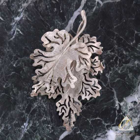 Hand sculpted, hammered silver Oak leaf brooch, fall/winter nature jewelry