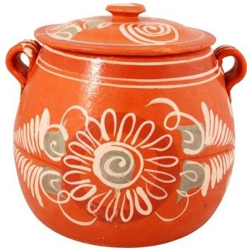 Traditional Mexican Cookware: Clay olla (pot) for cooking frijoles (beans)