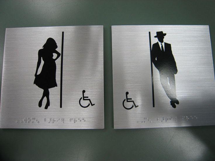 Restroom Signs: Bathroom Door Sign & Brass Restroom Signage | Behrends Bronze