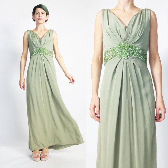 1960s Sequin Evening Gown Moss Green Evening by honeymoonmuse