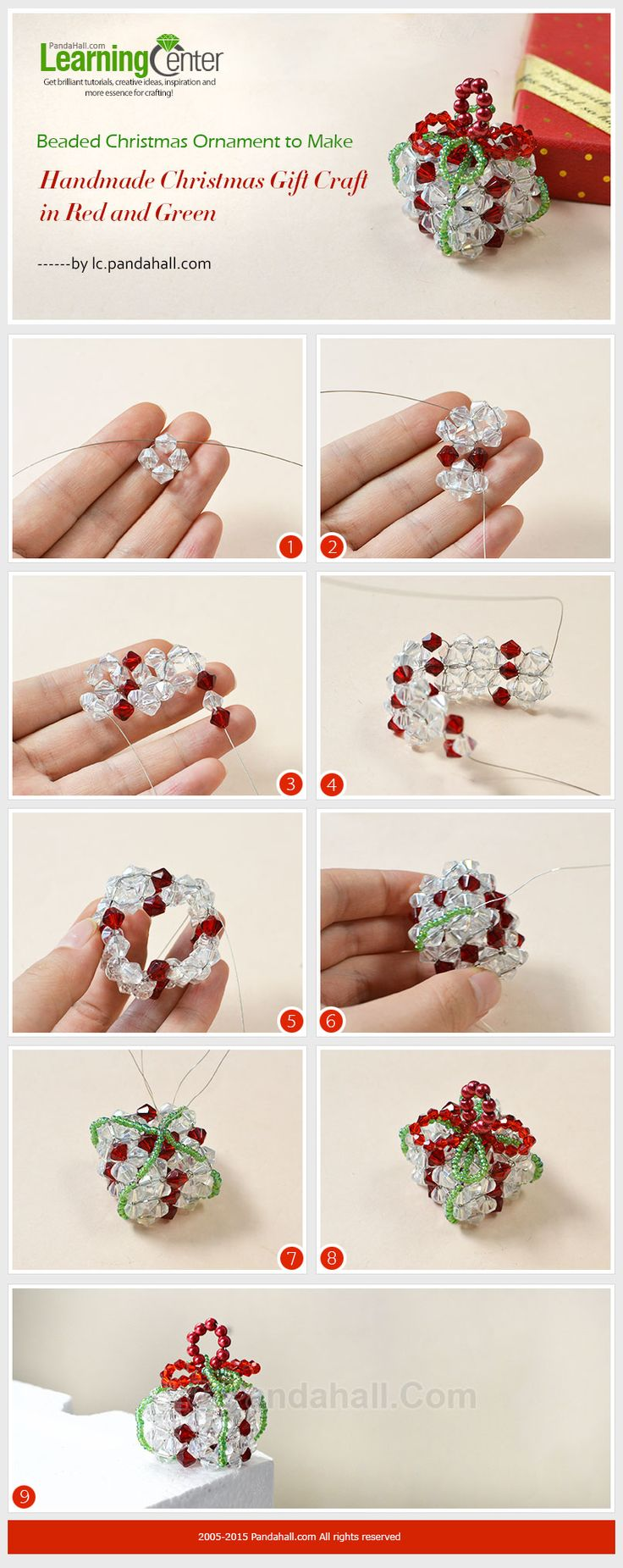 101 handmade christmas ornament ideas - Beaded Christmas Ornament To Make Handmade Christmas Gift Craft In Red And Green