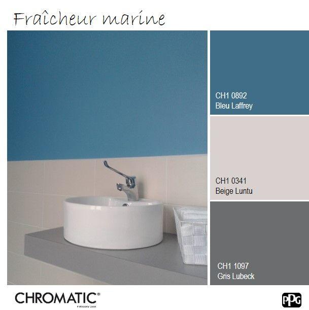 Le #Bleu Laffrey évoque une ambiance de bord de mer, avec un côté #urbain grâce au #Gris Lubeck. www.chromaticstore.com