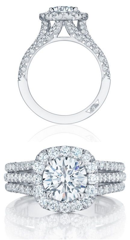 Diamond engagement ring (#HT2551CU75) from Tacori's new Petite Crescent collection. Via Diamonds in the Library.