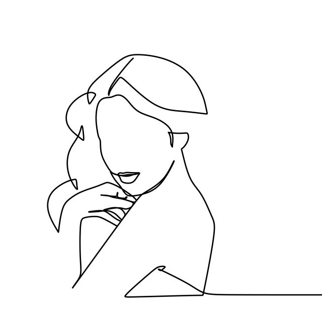Beauty Face Girl Vector Illustration Using One Continuous Line Art