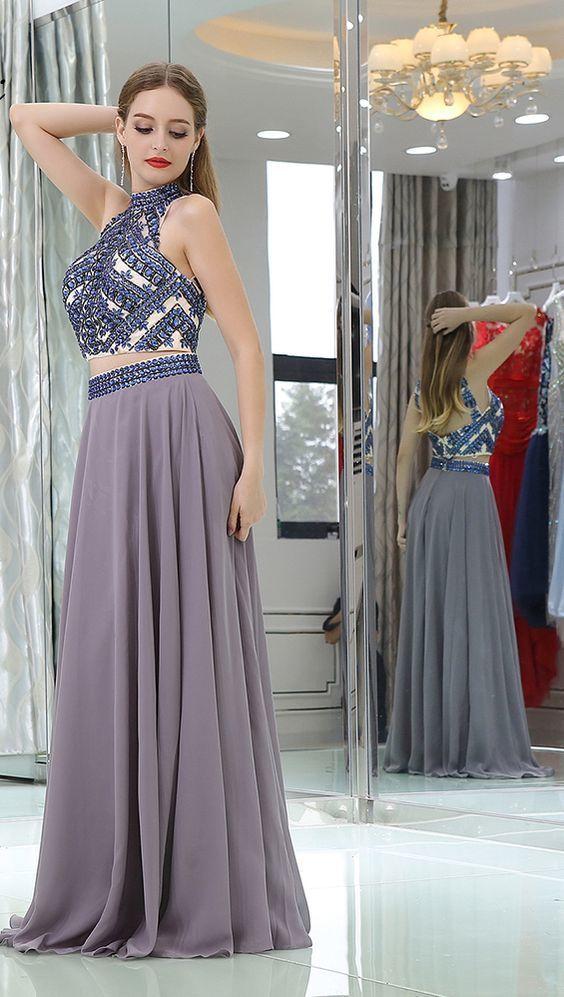 b71f382666 Charming Two Piece Beaded Prom Dress