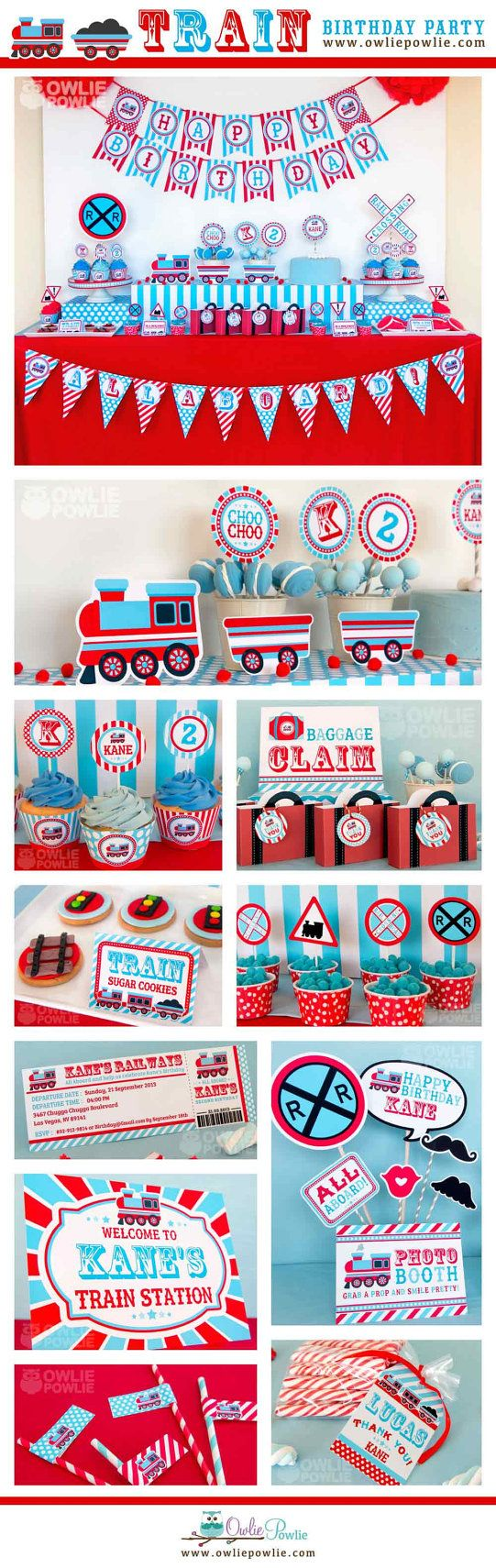Train BIRTHDAY Party Printable Package & Invitation por OwliePowlie