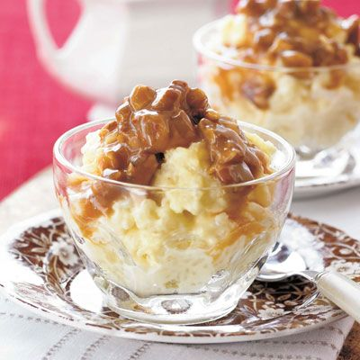Creamy Rice Pudding with Praline Sauce #RicePudding