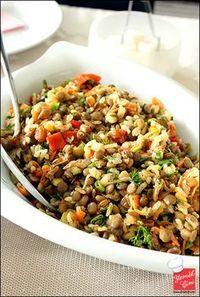 Pirinçli Yeşil Mercimek Salatası              HUZUR SOKAĞI (Yaşamaya Değer Hobiler)