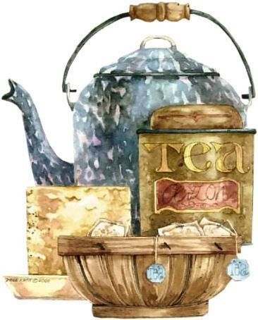 Country Style - Tea pot painting by Diane Knott - published on prints by Bon Art.
