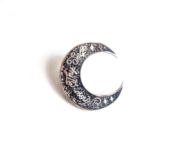 Know Thy Self Glitter Moon Lapel Pin by Moon Goddess Market