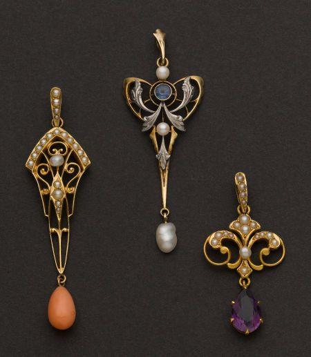 Three Antique Pendants - all 14k gold, 50 mm pearl & corral drop, sapphire & pearl Art Nouveau & drop, pearl & amethyst 33 mm drop