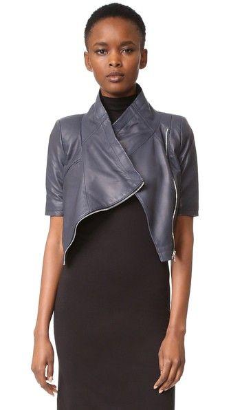 Yigal Azrouel Cropped Short Sleeve Leather Jacket | SHOPBOP