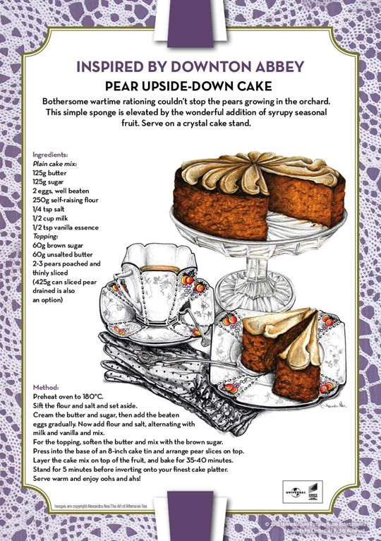 Here are the Downton Abbey inspired recipes that where served at the Downton Abbey Season Two DVD launch in Sydney recently. The recipes include: Pear Upside-Down Cake; Yorkshire Scones and Dainty Afternoon Sandwiches.