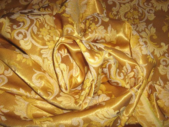 VINTAGE BROCADE GOLD on gold Fabric  Damask Jacquard   by RoseAltheasNook - now By the Yard