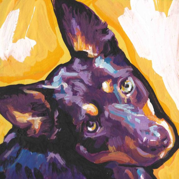 Australian Kelpie Dog art print of modern Dog by BentNotBroken