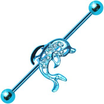 Aqua Titanium Paved Dolphin Industrial Barbell #bodycandy #dolphin #industrial $7.99
