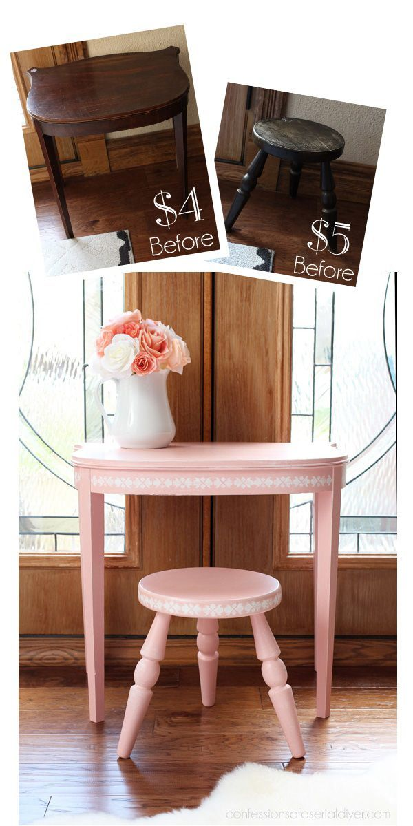Little girl's vanity set from an antique side table and stool, painted in Taffy Twist by Behr. http://confessionsofaserialdiyer.com