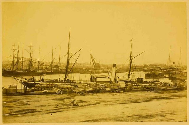 "Albumen print photograph by Charles Nettleton of Queen's Wharf, Melbourne, 1870s. The steamship ""Rob Roy"" is at the quayside"
