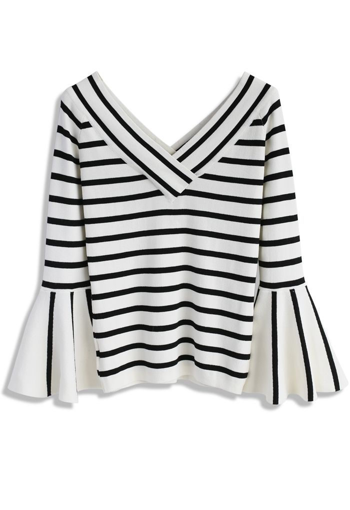 Pick Up Stripes Knit Top with Bell Sleeves - New Arrivals - Retro, Indie and Unique Fashion