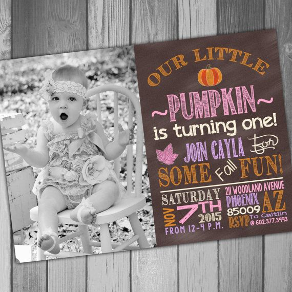 Fall Birthday Invitation Girl 1st Birthday InviteBirthday Invitation Photo Birthday Photo Invitation Our Little Pumpkin Turning One
