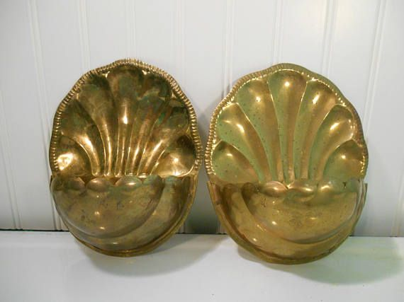 Brass wall planters 2 Vintage metal wall decor Brass plant