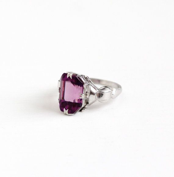 Vintage Art Deco Sterling Silver Simulated Amethyst Ring - 1930s Size 6 1/2 Purple Glass Statement February Birthstone Color Jewelry