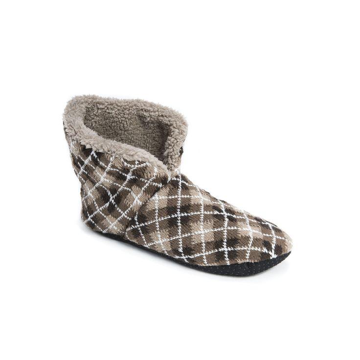 MUK LUKS Men's Slipper Boots, Size: S-M, Brown
