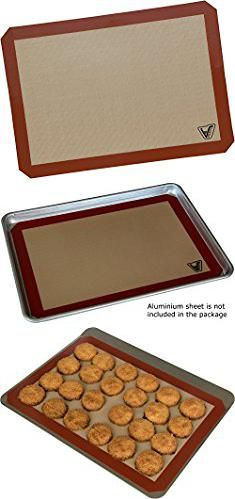 """Silicone Bake Mat. Silicone Baking Mat - Set of 2 Half Sheet (Thick & Large 11 5/8"""" x 16 1/2"""") - Non Stick Silicon Liner for Bake Pans & Rolling - Macaron/Pastry/Cookie/Bun/Bread Making - Professional Grade Nonstick.  #silicone #bake #mat #siliconebake #bakemat"""