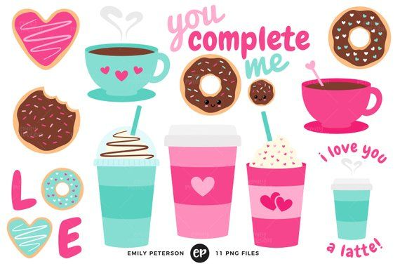 Coffee Clip Art Valentine S Day Clipart Donuts Clip Art Commercial Use Instant Download Valentines Day Clipart Cricut Crafts Clip Art