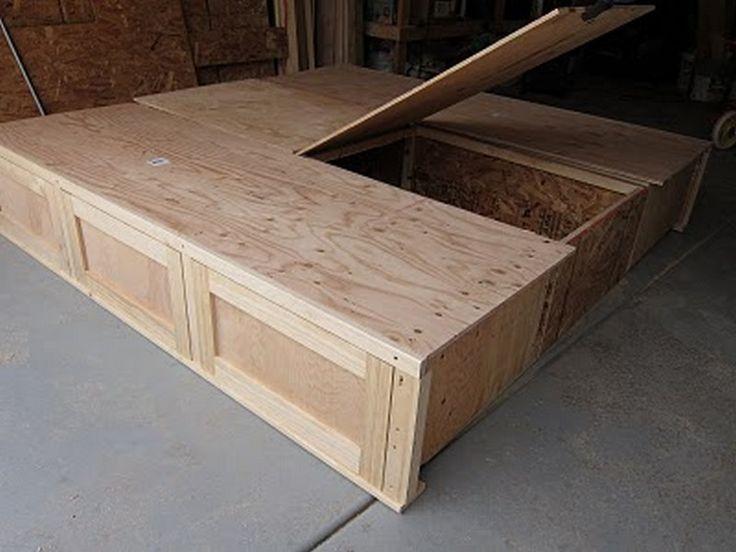 diy king bed plans | DIY King Size Bed - Center Storage | DIY BED ...