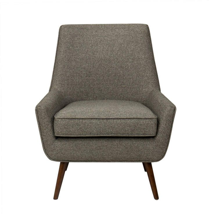 Grey Belleze 014-HG-30338-GY Mid-Century Modern Accent Chair Living Room Upholstered Linen Armchair with Wood Legs