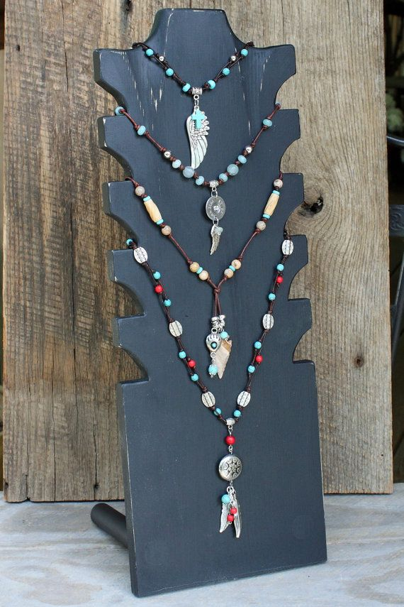 Multi Tiered Necklace display 20 tall and 7.25 by RusticLodgeDecor, $32.00