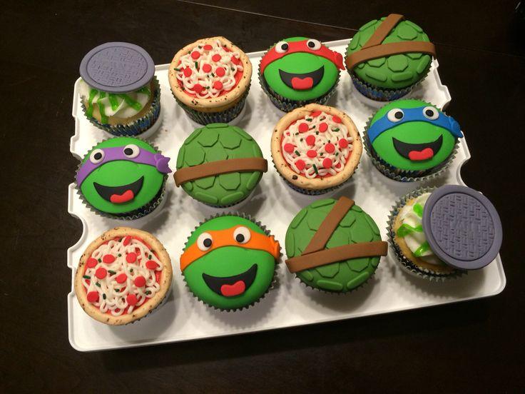 TMNT Cupcakes. Teenage Mutant Ninja Turtle Cupcakes. Turtle Shell Cupcakes. Pizza Cupcakes.  Sewer Lid Cupcakes. Slime Cupcakes.