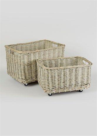 Set of 2 Wicker Wheeled Baskets
