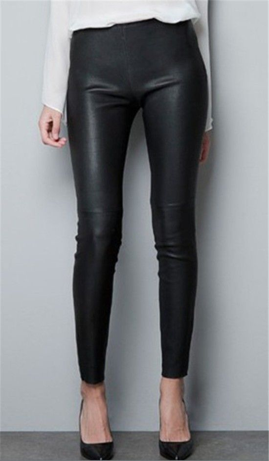 Calça Feminina Couro Falso Zara Fashion