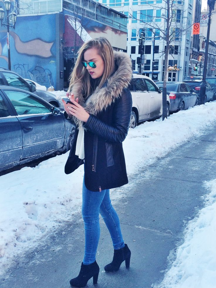 Montreal weather: Coat: Rudsak, Jeans: Zara, Heels: Aldo, Glasses: Rayban