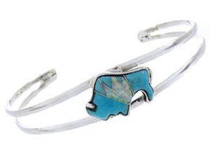 Turquoise And Opal Inlay Genuine Sterling Silver Buffalo Bracelet CW64753 SilverTribe. $79.19