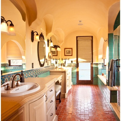 28 best traditional saltillo tile for the home images on for Terracotta bathroom ideas