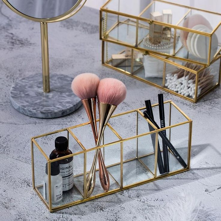 Luxury Clear Glass Makeup Box Cosmetic Storage Box Makeup