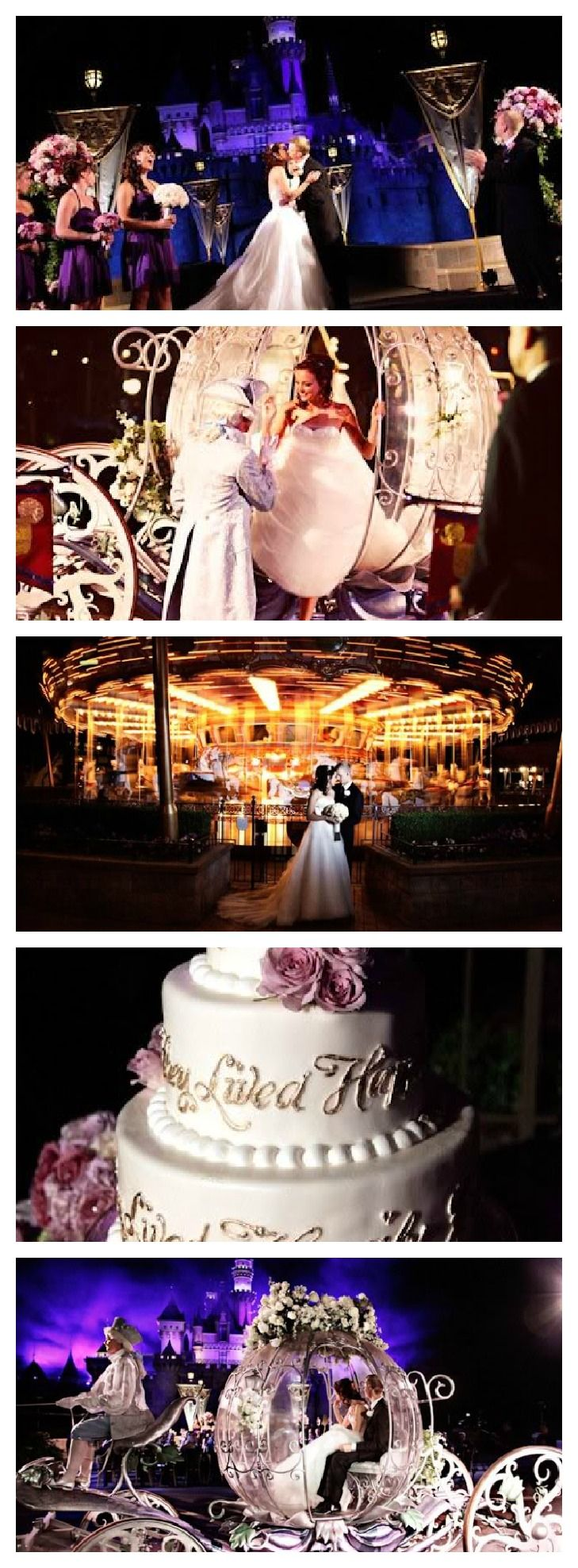 Incredible Disneyland wedding with the carriage, the castle, and fireworks included. One of my favorite Disney weddings!