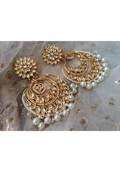 Large Kundan pearl Chand bali earrings
