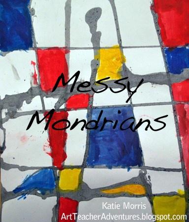 Messy Mondrians from Adventures of an Art Teacher