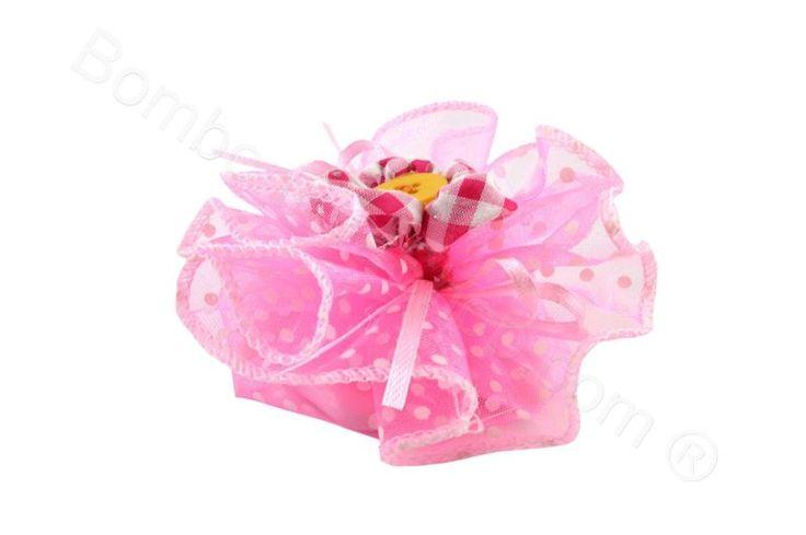 Portaconfetti pois rosa con fiore bottone